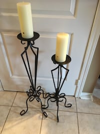 2 Scroll Metal Stands with Pillar Candles Mississauga, L5M 6R3