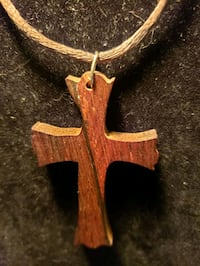 WOOD CROSS & LEATHER NECKLACE