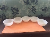5 fire king milk glass cereal chili bowls Osteen, 32764