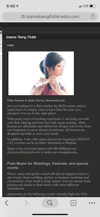 Music lessons/ flute lessons/ piano lessons Richmond
