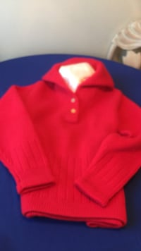 Red double-knit lady's sweater. size 8-10. made in scotland. 100% wool. great for winter sports. San Diego, 92110