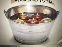 Bobbing for Apples Candles and Metal Pail Holder 26 km