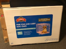 Pink fold and carry dog crate for small dog 12-25 LBS $50