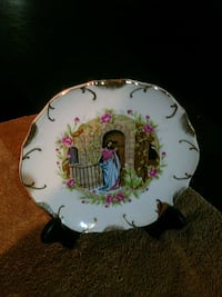 Religious plate, 18k gold edging 18 mi