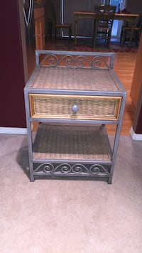 Gray metal framed beige woven side table with drawer