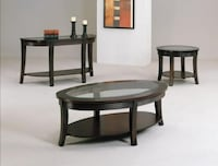 Simone Dark Brown 3-Piece Coffee Table Set  Houston