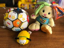 Laugh & learn bunny, Fisher Price talking soccer ball, tsum tsum Pluto