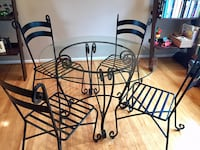 Black Wrought Iron Scroll Table and Chairs, 5 piece set Herndon, 20171