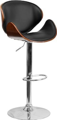 Faux Leather Bentwood PU Bar Stool in Black, $120 Toronto