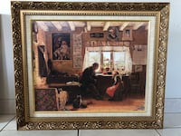 Man sitting on chair in front of girl painting with brown frame Vaughan, L4L 2Z7