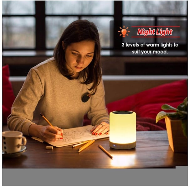 Night Light Bluetooth Speaker, Portable Wireless Bluetooth Speakers, Touch Control, Color LED Speaker, Bedside Table Light, Speakerphone/TF Card/AUX-in Supported (White), 7 bc368d0e-6f75-44b4-8fc5-544fc896c395