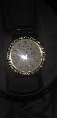 round silver chronograph watch with black leather strap Laurel, 20707