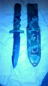 black and green camouflage handled dagger and case Ventura, 93001