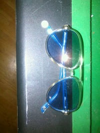 blue framed mk glasses