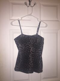 black and gray leopard pattern print spaghetti strap top Clemson, 29631