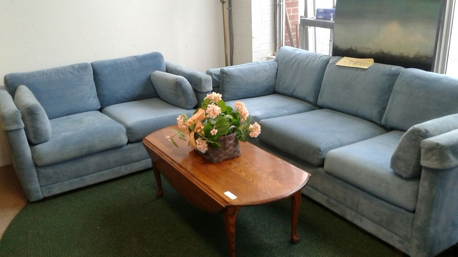 Long Low Cool Blue Sofa And Loveseat