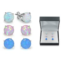 3 Pairs of Sterling Silver Opal Earring Set Toronto
