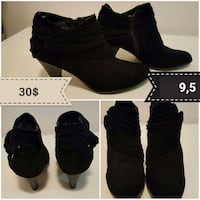black suede chunky heeled Chelsea booties collage Montréal, H4B 1N6