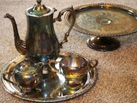 Silver plated tea set and dessert tray York, 17406