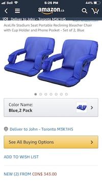 AceLife Stadium Seat Portable Reclining Bleacher Chair with Cup Holder and Phone Pocket - Set of 2, Blue Toronto, M3K 1H5