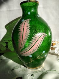 MURANO Vintage ART GLASS VASE with Bubble Glass & Hand Painted Enamel Design Whitchurch-Stouffville