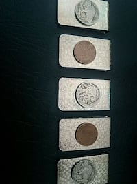 money clips with buffalo nickel or wheat pennies o