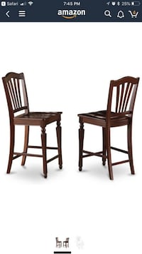 East West Furniture CHS-MAH-W Stool Set with Wood Seat, Set of 2 Mississauga, L5R