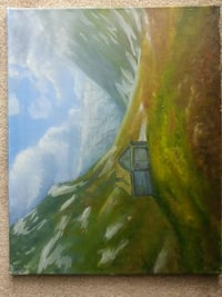 Oil landscape painting mountains house London, N6J 4W3