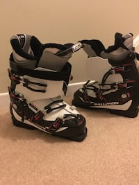 black-and-white snowboard boots