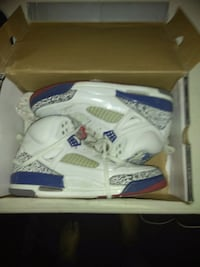 pair of white-and-blue Air Jordan 4's with box Harvey, 70058