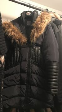 black and brown full-zip parka