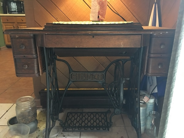 Old Sewing Machine with Cabinet