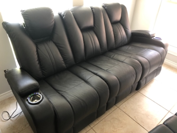 Used Black Leather 3 Seat Recliner Sofa For Sale In Irving Letgo