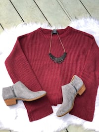 Red sweater and grey booties  Grover Beach, 93433