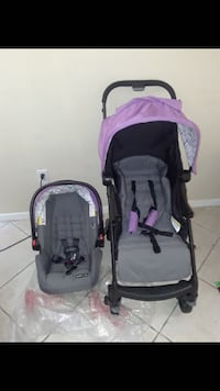 baby's pink and black travel system Riverview