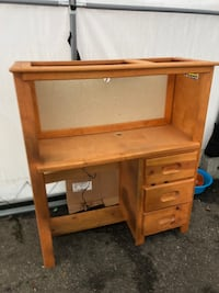 Twin Bed Backing Shelf Wood Work Station with Light