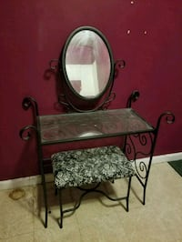 black vanity table with mirror and bench New York, 10004
