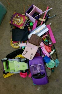 assorted plastic toys in box