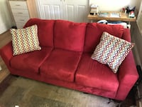 Red suede 3-seat sofa Boston, 02118