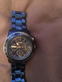 round black chronograph watch with link bracelet Toronto, M6G