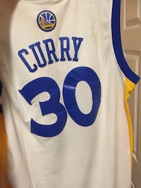 White, blue, and yellow stephen curry #30 golden state warriors nba jersey