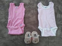 Baby girl size Newborn onesies & slippers in excellent condition Lincoln