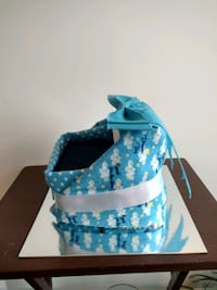 Diaper Cake Bassinet for Baby Boy,  ready to sell!