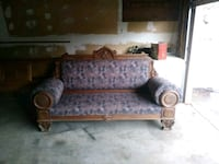 brown and gray floral fabric sofa 2402 mi