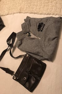 Roots purse and sweater.