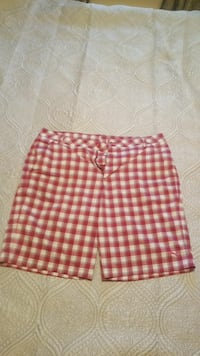 red and white Puma plaid medium shorts