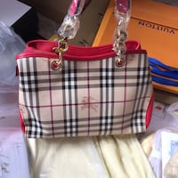 white and blue plaid leather tote bag