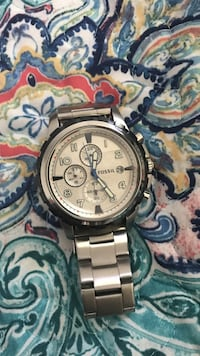 round silver chronograph watch with link bracelet Clinton, 29325