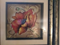 Gold Framed Abstract Flotting Flower set of 2 Pictures Stafford, 22554