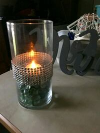 two clear glass candle holders Raceland, 70394